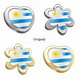 uruguay flag in heart and flower shape