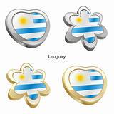 uruguay flag in heart and flower shape