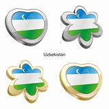 uzbekistan flag in heart and flower shape