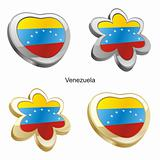 venezuela flag in heart and flower shape