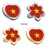 vietnam flag in heart and flower shape