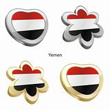 yemen flag in heart and flower shape