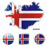 iceland in map and web buttons shapes
