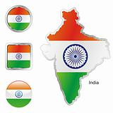 india in map and web buttons shapes