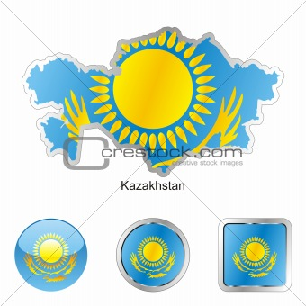 kazakhstan in map and web buttons shapes