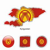 kyrgyzstan in map and web buttons shapes