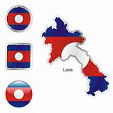 laos in map and web buttons shapes