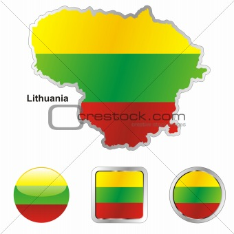 lithuania in map and web buttons shapes