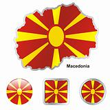 macedonia in map and web buttons shapes