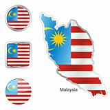 malaysia in map and web buttons shapes