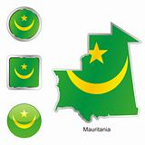mauritania in map and web buttons shapes