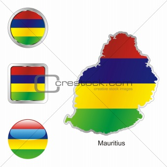 mauritius in map and web buttons shapes