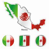 mexico in map and web buttons shapes