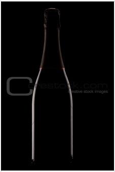 Backlit champagne bottle