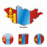 mongolia in map and web buttons shapes