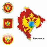 montenegro in map and web buttons shapes