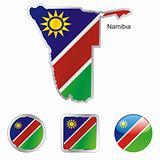 namibia in map and web buttons shapes