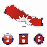 nepal in map and web buttons shapes