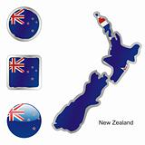 new zealand in map and web buttons shapes