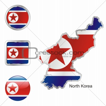north korea in map and web buttons shapes