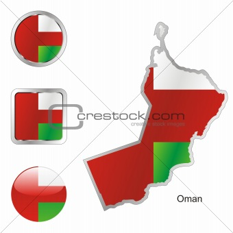 oman in map and web buttons shapes