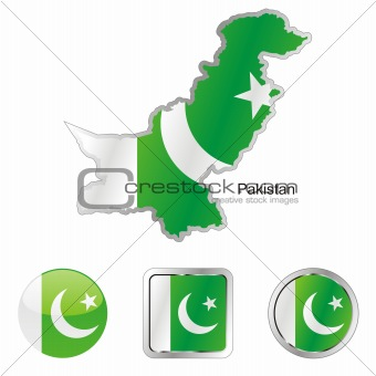 pakistan in map and web buttons shapes