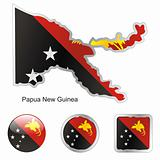 papua new guinea in map and web buttons shapes