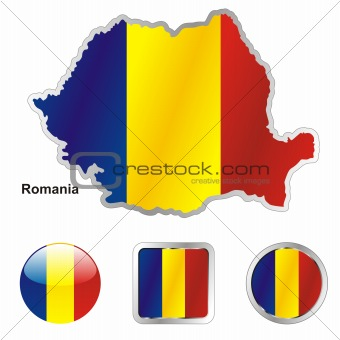 romania in map and web buttons shapes