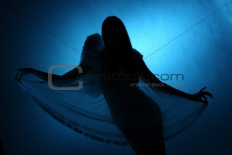 silhouette of a girl angel