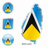 saint lucia in map and internet buttons shape