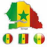 senegal in map and internet buttons shape