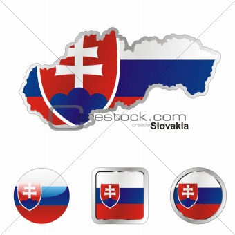 slovakia in map and internet buttons shape