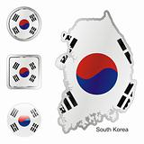 south korea in map and internet buttons shape