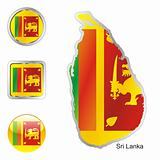 sri lanka in map and internet buttons shape
