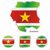 suriname in map and internet buttons shape
