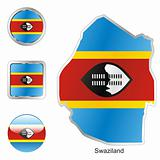 swaziland in map and internet buttons shape