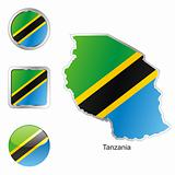 tanzania in map and web buttons shapes
