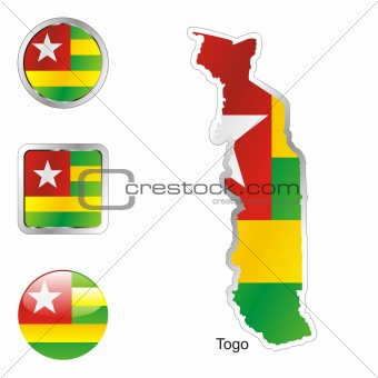 togo in map and web buttons shapes
