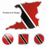 trinidad and tobago in map and web buttons shapes