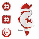 tunisia in map and web buttons shapes