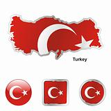 turkey in map and web buttons shapes