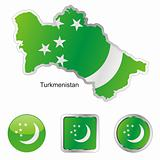 turkmenistan in map and web buttons shapes