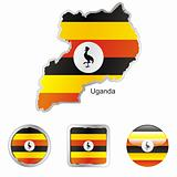 uganda in map and web buttons shapes