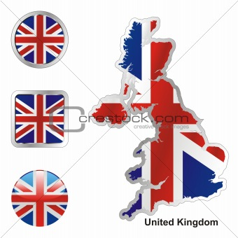 great britain in map and web buttons shapes