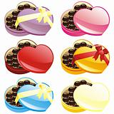 gift chocolate boxes in heart shape
