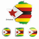 zimbabwe in map and web buttons shapes