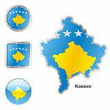 kosovo in map and web buttons shapes