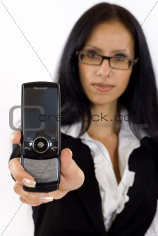 business woman showing her phone