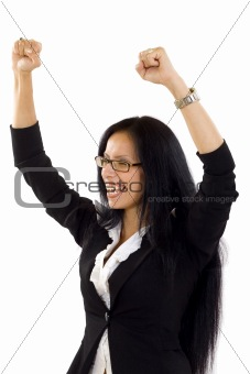 beautiful young business woman raising arms