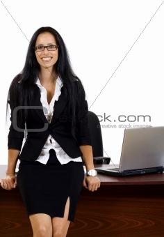 business woman against desk